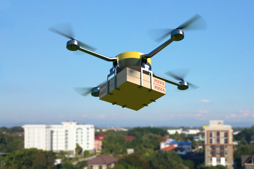 Delivery drone with pizza box.